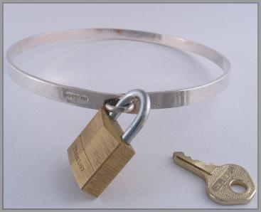 Sterling Silver Heavy BDSM Slave Collar & Padlock 2